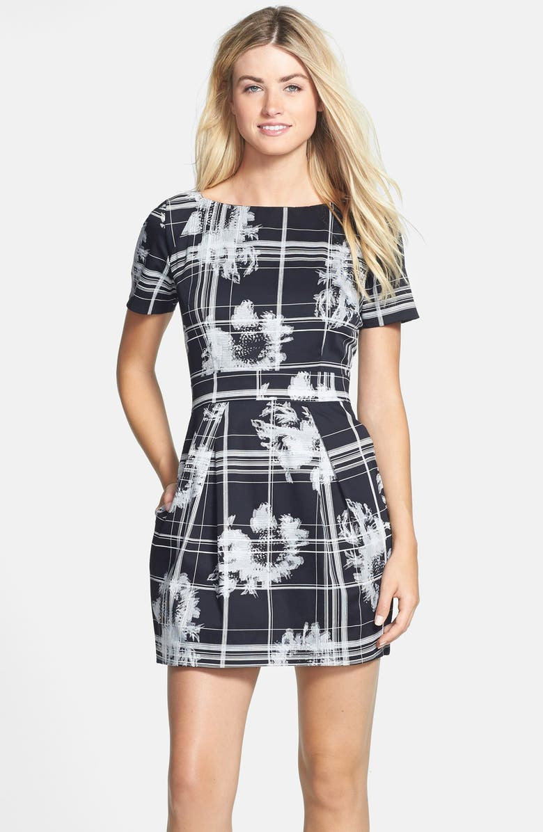 FRENCH CONNECTION 'Wilderness Check' Print Fit & Flare Dress, Main, color, 006