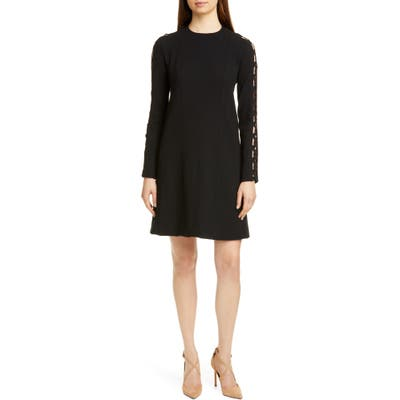 Lela Rose Wave Inset Long Sleeve Tunic Dress, Black