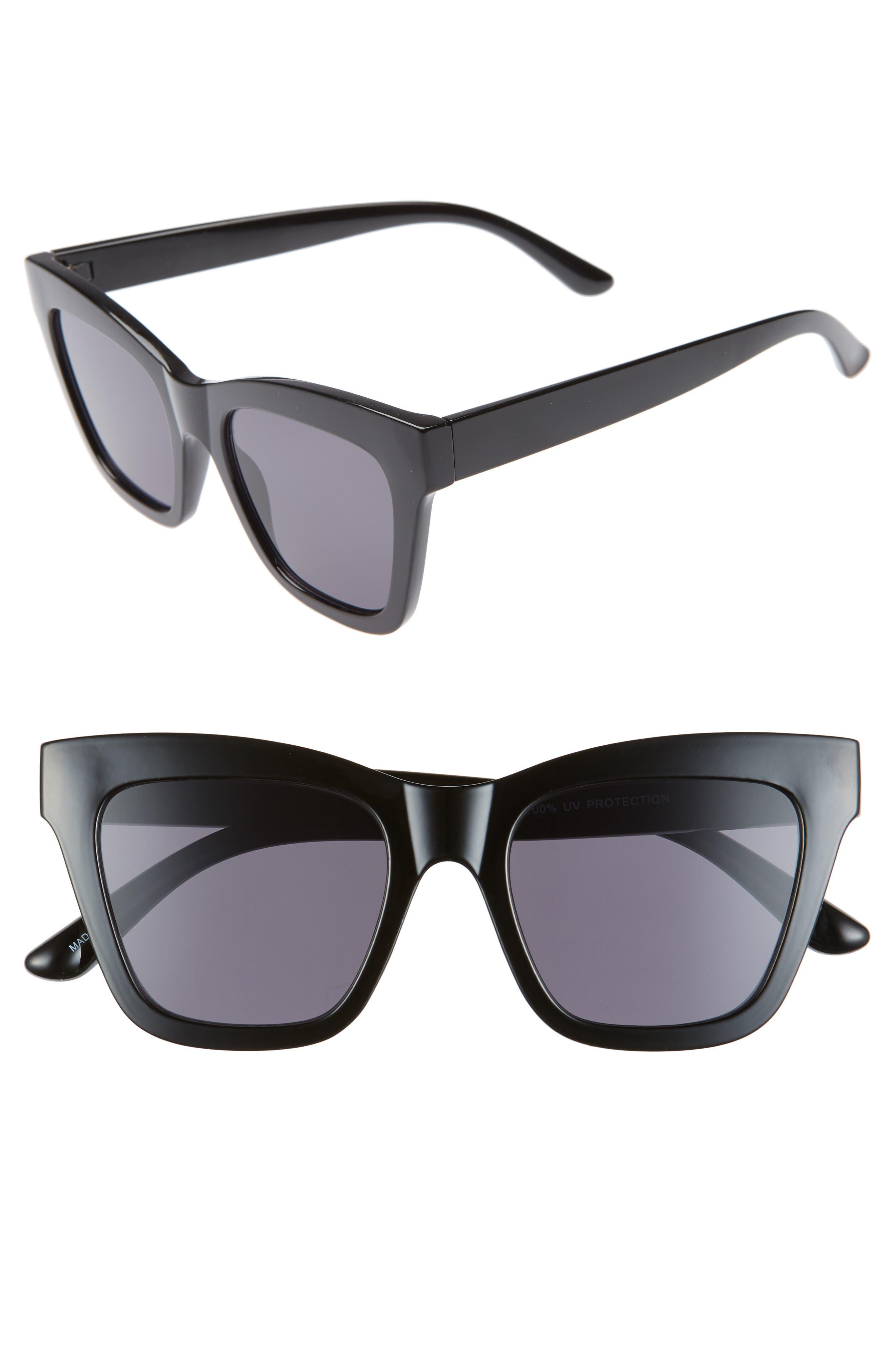 ,                             50mm Gradient Square Sunglasses,                             Main thumbnail 1, color,                             BLACK/ BLACK
