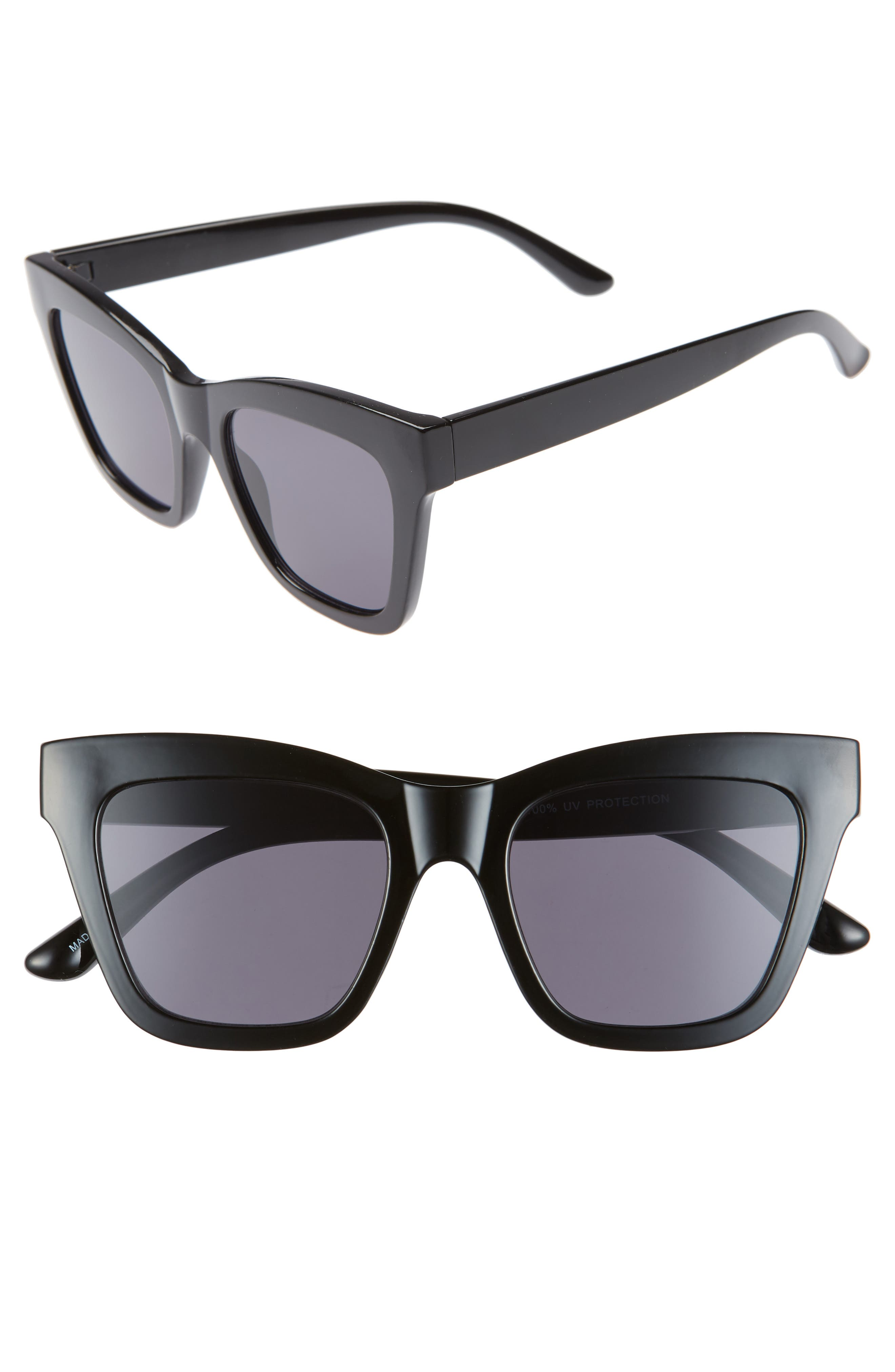 50mm Gradient Square Sunglasses, Main, color, BLACK/ BLACK
