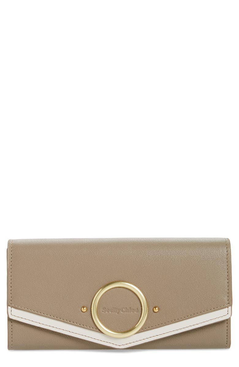 SEE BY CHLOÉ Large Aura Leather Wallet, Main, color, MOTTY GREY