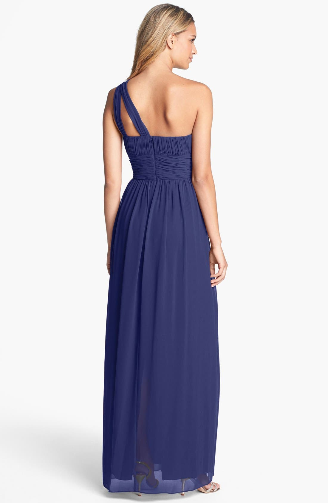 ,                             'Rachel' Ruched One-Shoulder Chiffon Gown,                             Alternate thumbnail 77, color,                             454
