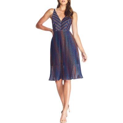 Dress The Population Haley Metallic Stripe V-Neck Cocktail Dress, Blue