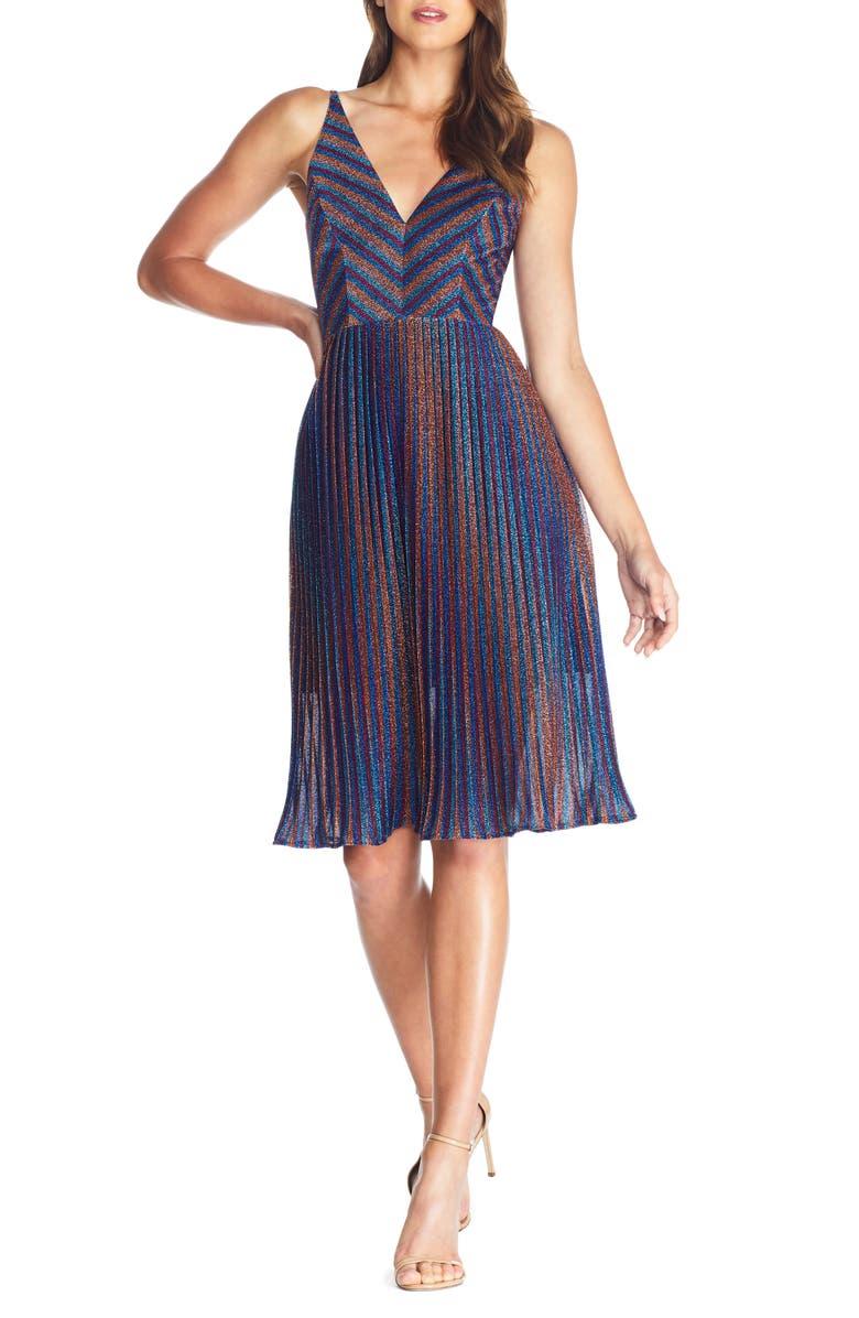 DRESS THE POPULATION Haley Metallic Stripe V-Neck Cocktail Dress, Main, color, METALLIC COBALT MULTI