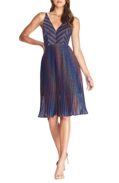 Dress The Population Dresses Haley Metallic Stripe V-Neck Cocktail Dress
