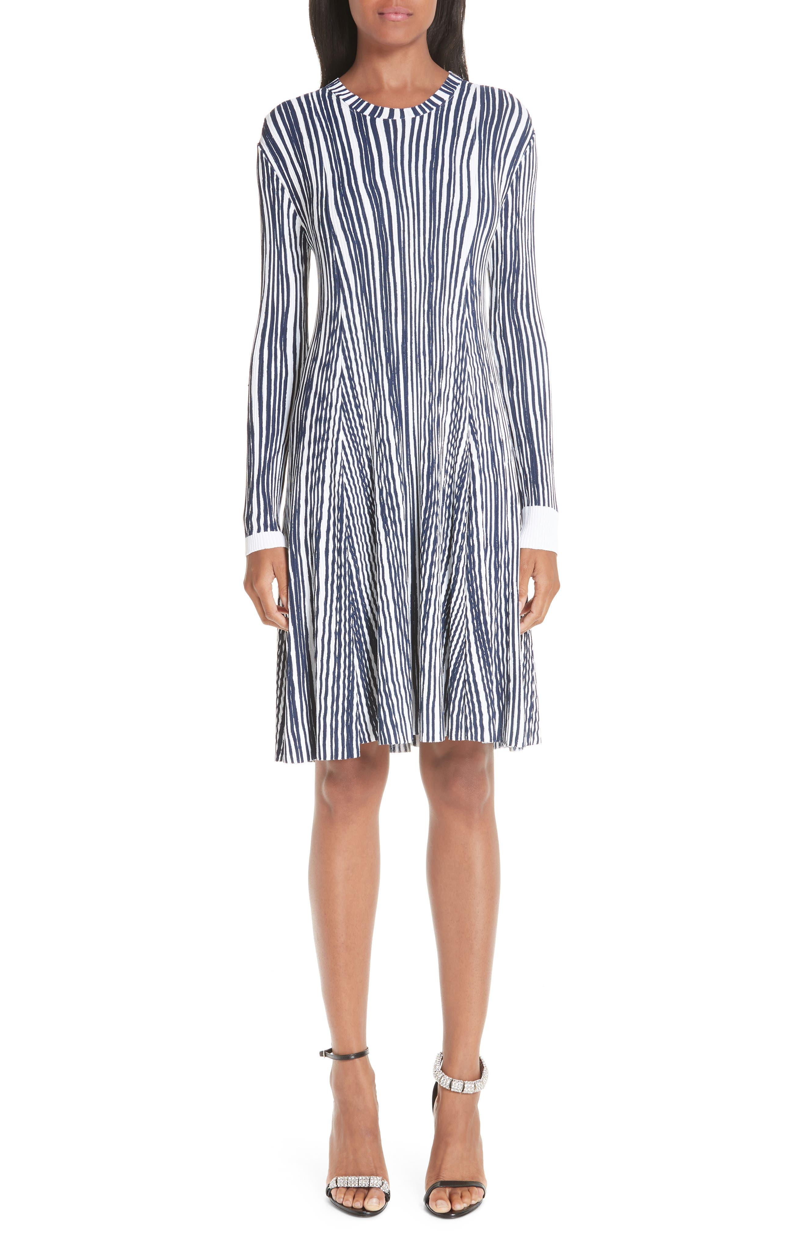 Calvin Klein 205W39Nyc Stripe Rib Knit Dress, Blue