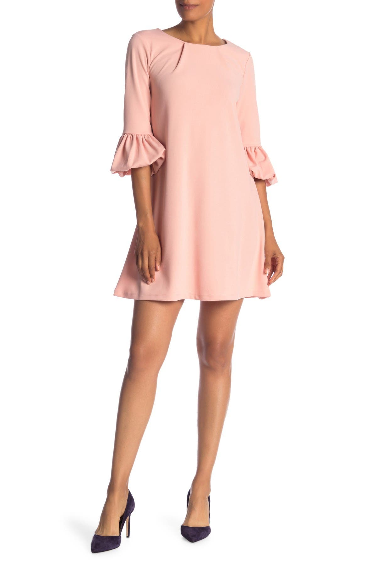 Image of Nina Leonard Gathered Boatneck Shift Dress
