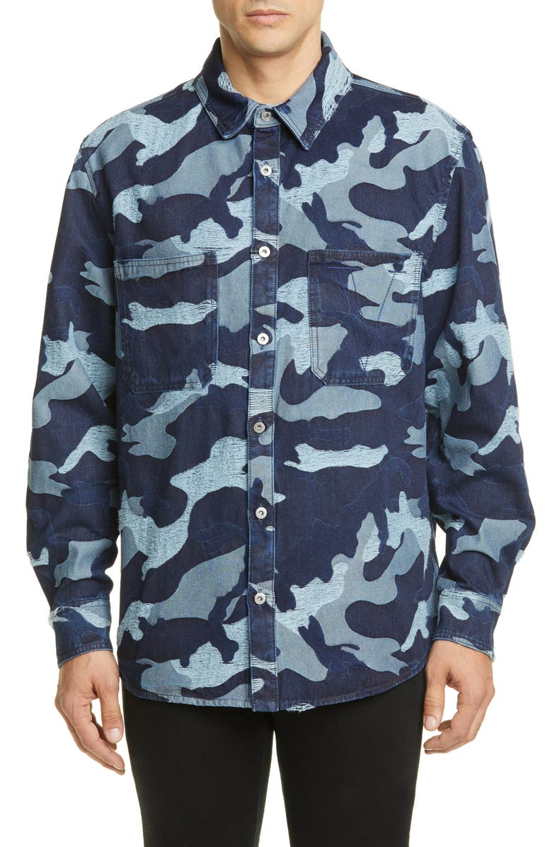 VALENTINO Camo Slim Fit Jacquard Denim Shirt, Main, color, 460