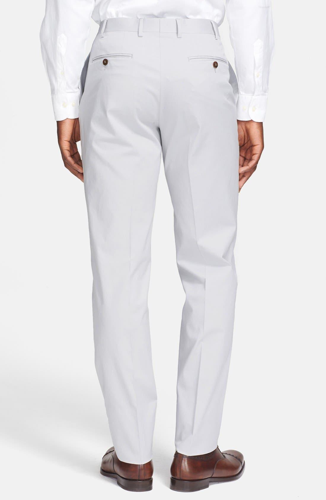 ,                             Flat Front Cotton Blend Trousers,                             Alternate thumbnail 2, color,                             020