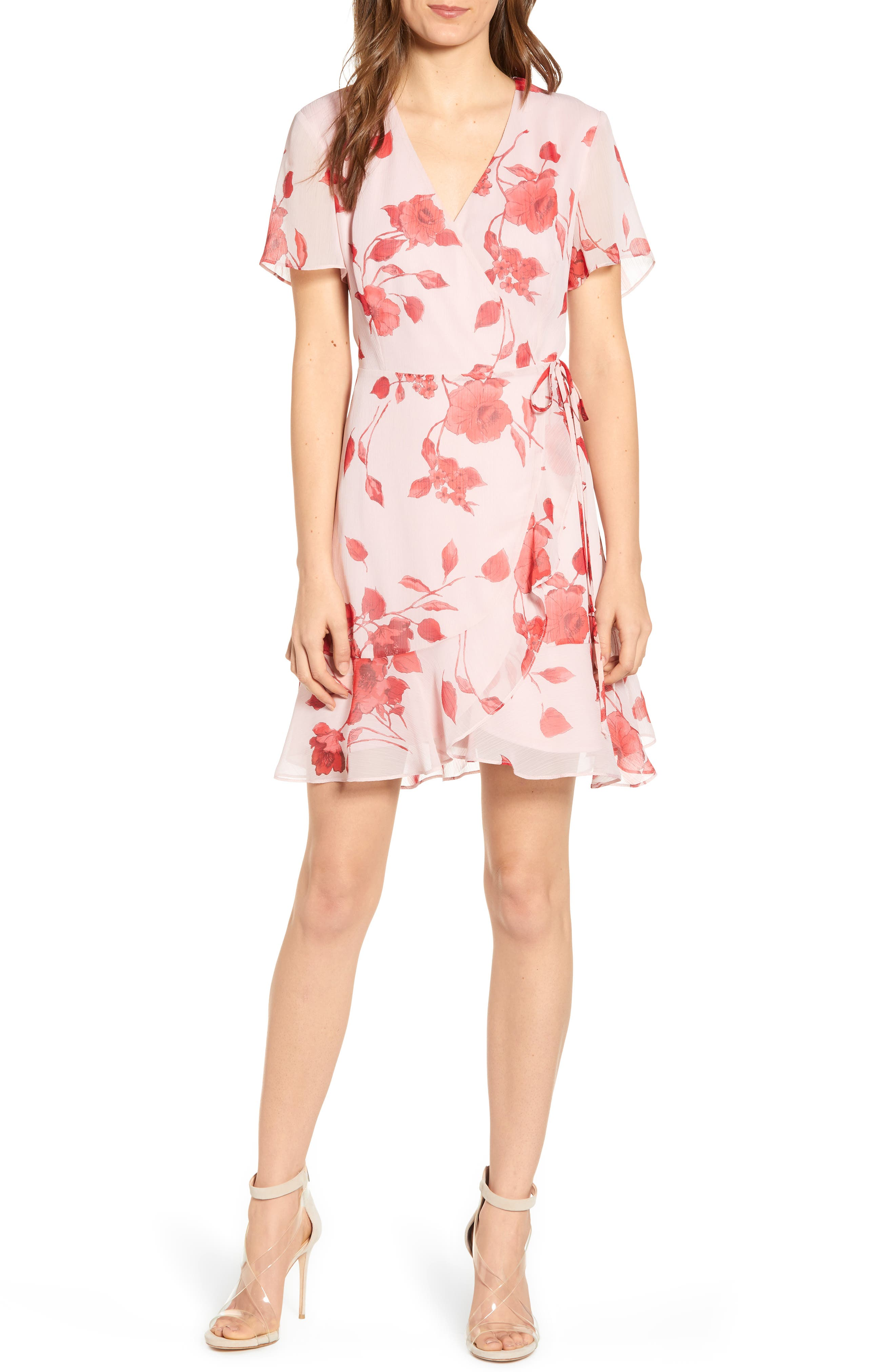 Isabella Wrap Dress, Main, color, RED PAINTED FLORAL