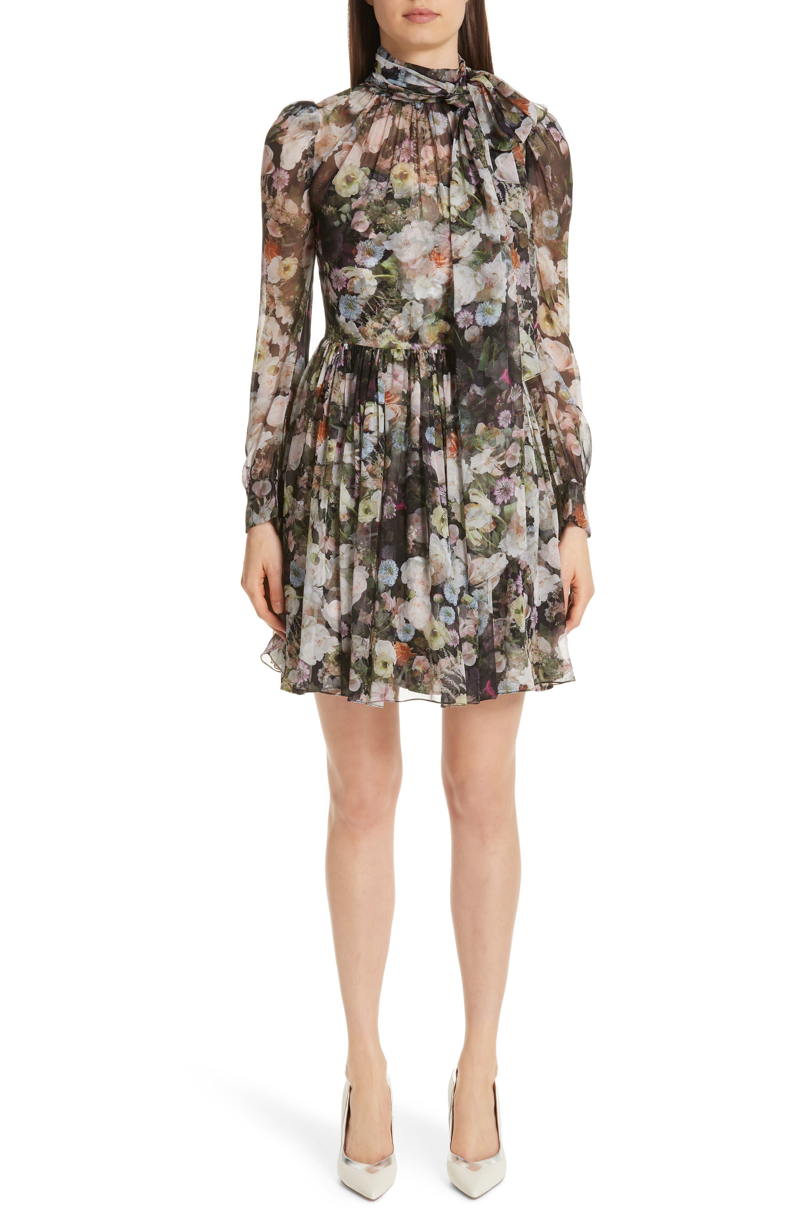 Adam Lippes Floral Print Silk Chiffon Dress