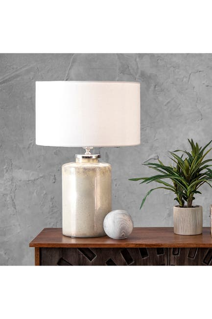 """Image of nuLOOM Beige Glass 21"""" Linen Shade Table Lamp"""