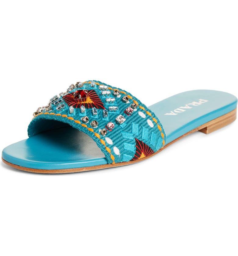 PRADA Embellished Slide Sandal, Main, color, TEAL BLUE