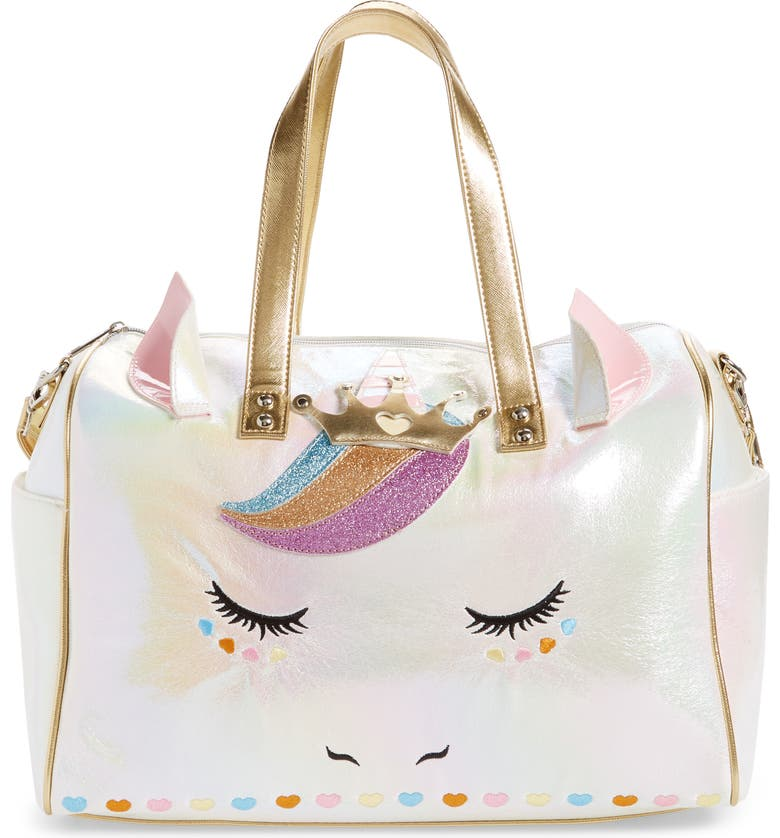 UNDER ONE SKY Glitter Unicorn Metallic Duffle Bag, Main, color, 112
