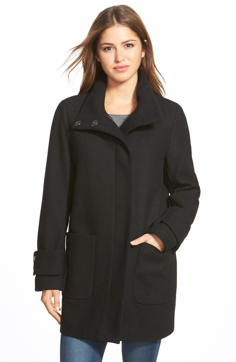 KENNETH COLE NEW YORK Stand Collar Wool Blend Twill Coat, Main, color, 001