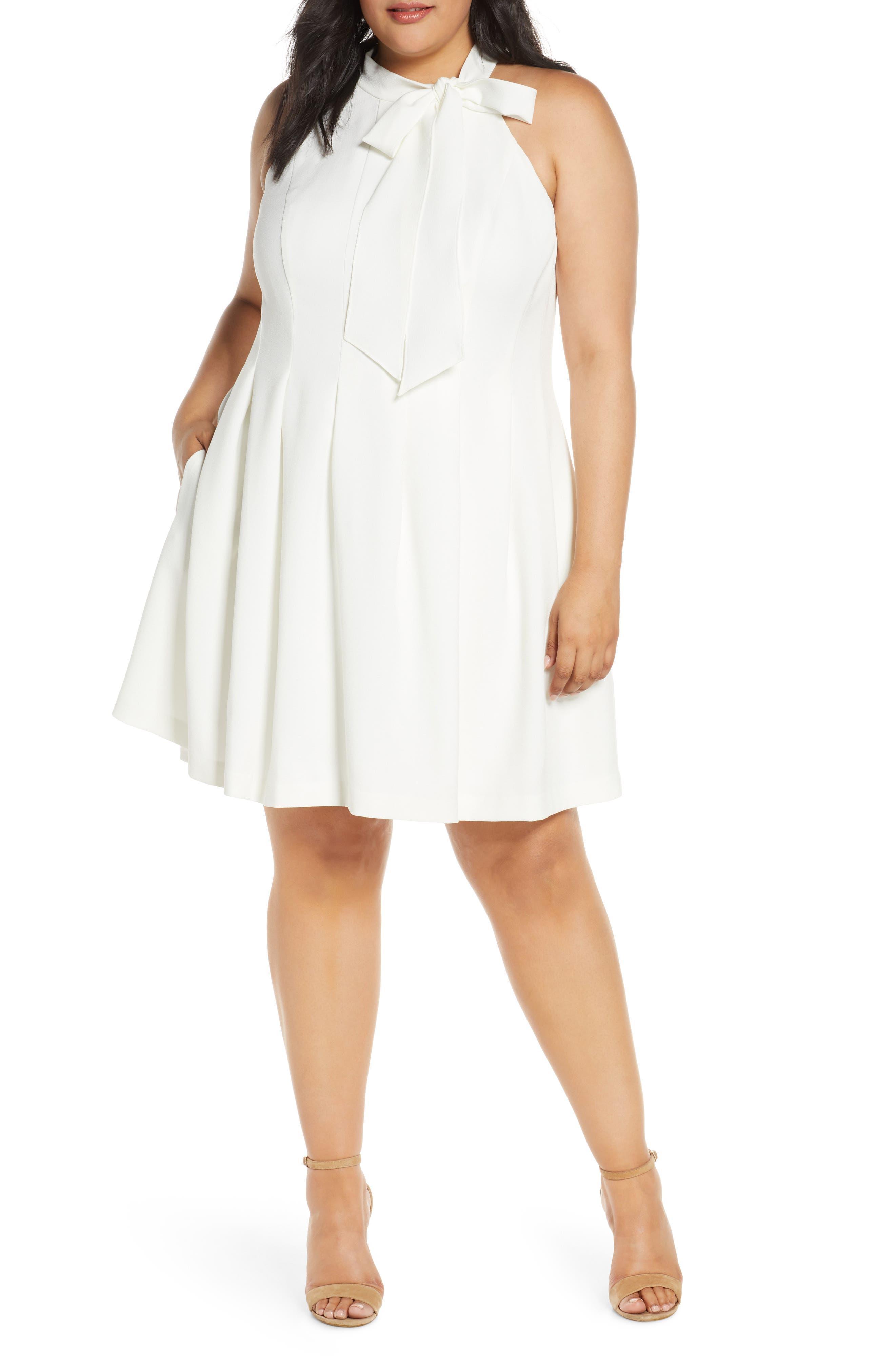 60s Wedding Dresses | 70s Wedding Dresses Plus Size Womens Vince Camuto Sleeveless Bow Fit  Flare Dress $82.80 AT vintagedancer.com