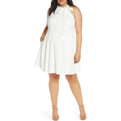 Plus Size Vince Camuto Sleeveless Bow Fit & Flare Dress, Ivory