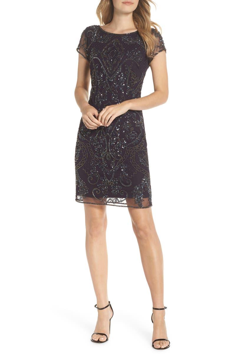 PISARRO NIGHTS Embellished Sheath Dress, Main, color, 501