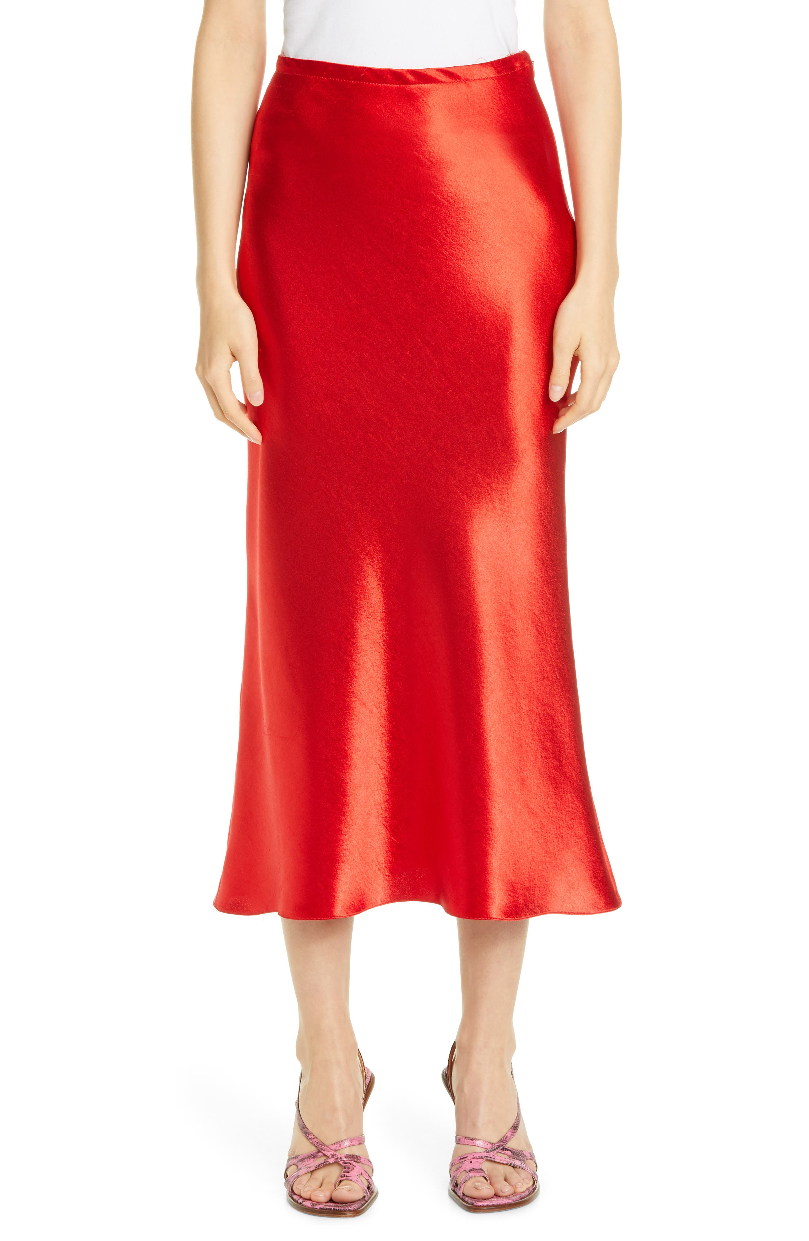 A luminous, lipstick-red satin skirt falls with plenty of liquid shimmer to a midi length and a lightly flared hem. Style Name: Sies Marjan Satin Midi Skirt. Style Number: 6010844. Available in stores.