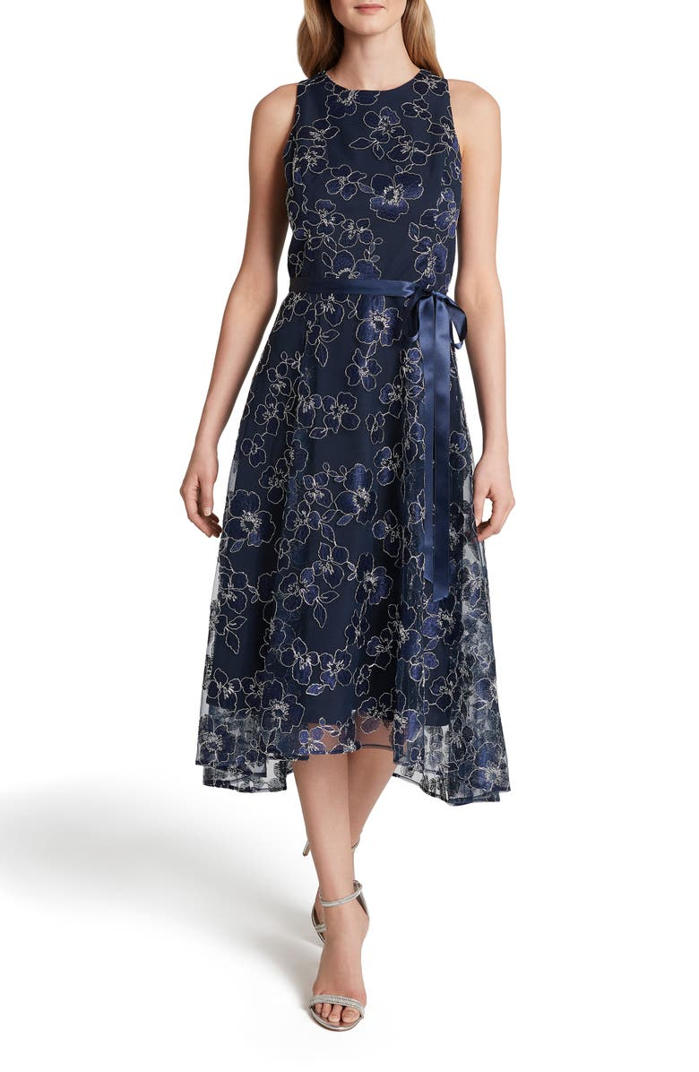 TAHARI Floral Embroidered Cocktail Dress, Main, color, NAVY SILVER PETAL