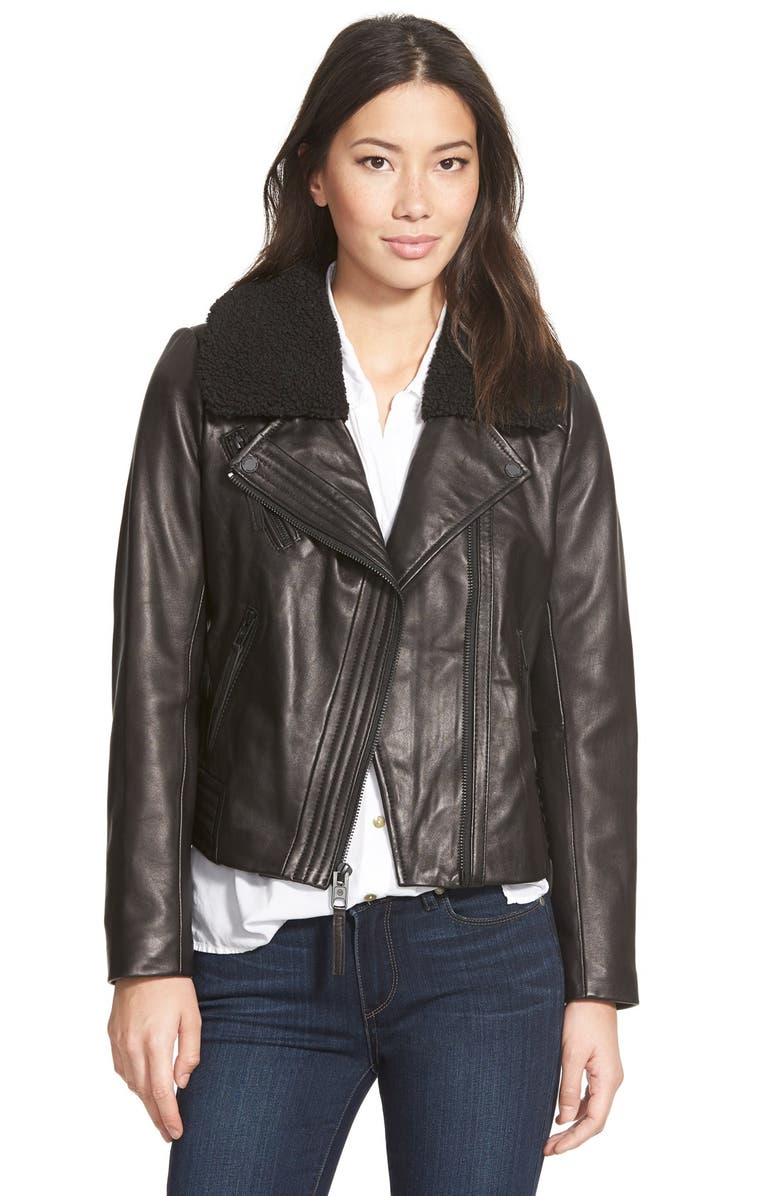 MICHAEL MICHAEL KORS Leather Moto Jacket with Faux Shearling Collar, Main, color, Black