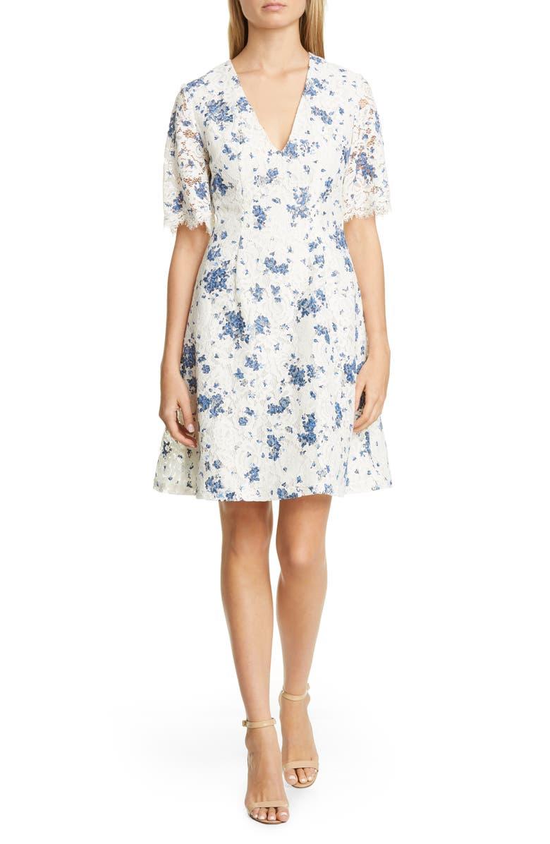 LELA ROSE Print Lace A-Line Dress, Main, color, IVORY MULTI