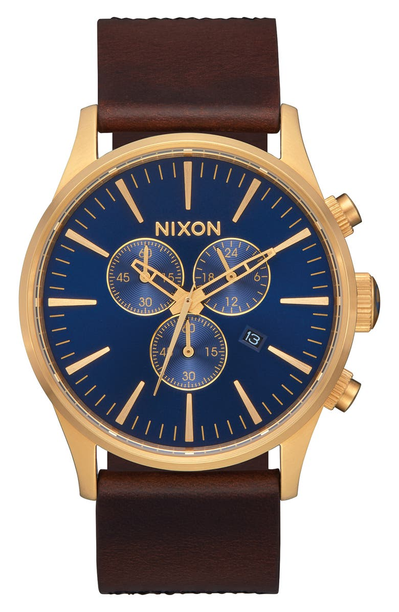 NIXON The Sentry Chronograph Alligator Strap Watch, 42mm, Main, color, BROWN/ NAVY/ GOLD