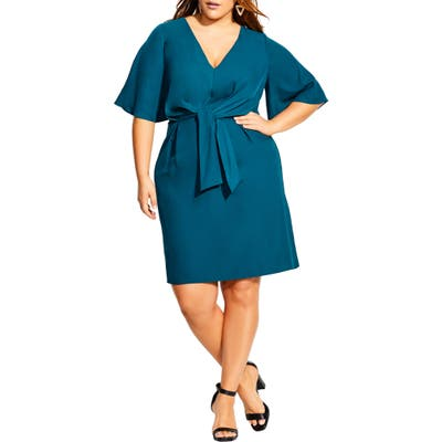 Plus Size City Chic Knot Front Dress, Blue