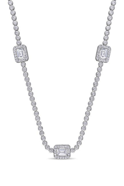Image of Delmar Sterling Silver Pave CZ & Emerald Cut Station Necklace