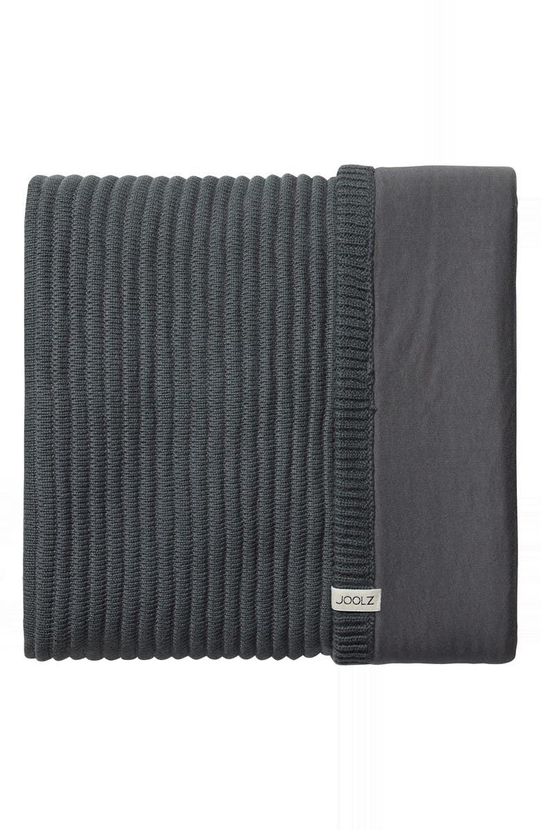 JOOLZ Essentials Ribbed Organic Cotton Blanket, Main, color, GREY