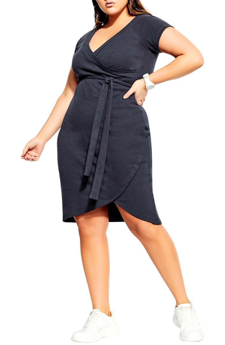 CITY CHIC Lounge Around Faux Wrap Dress, Main, color, NAVY