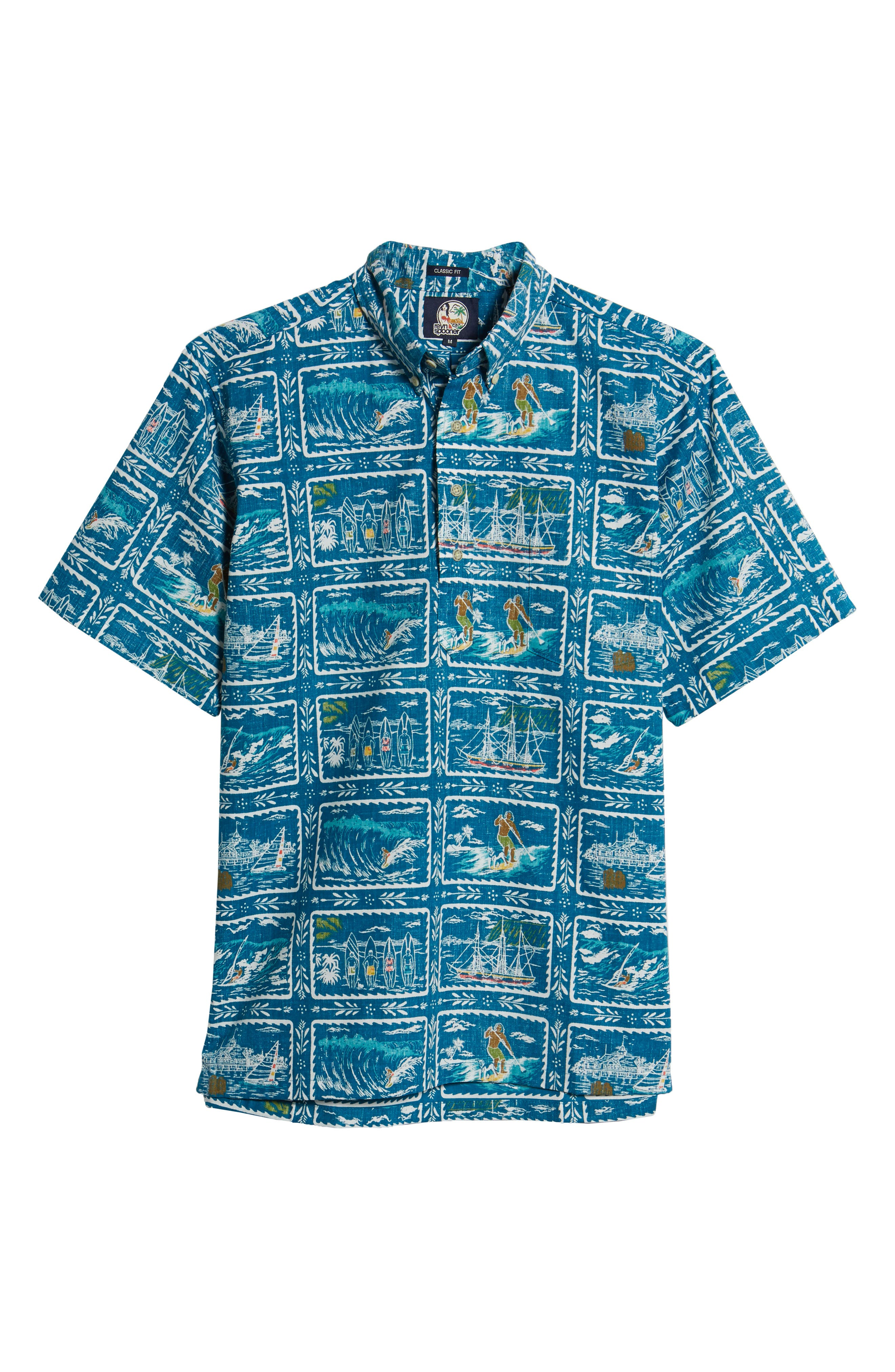 ,                             Hawaiian Sports Classic Fit Pullover Sport Shirt,                             Alternate thumbnail 5, color,                             BLUE