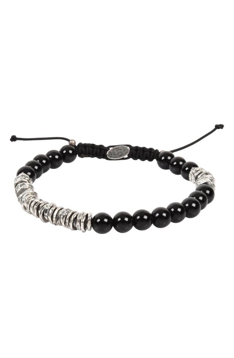 DEGS & SAL Stone Bead Bracelet, Main, color, BLAK