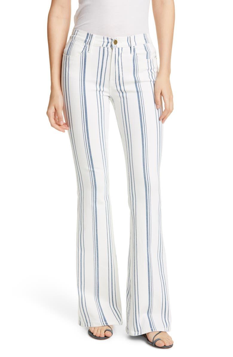 FRAME Le High Flare Birkin Stripe Jeans, Main, color, 120