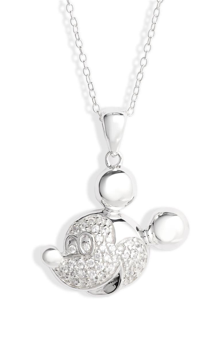 DISNEY Mickey Face Crystal Pendant Necklace, Main, color, 040