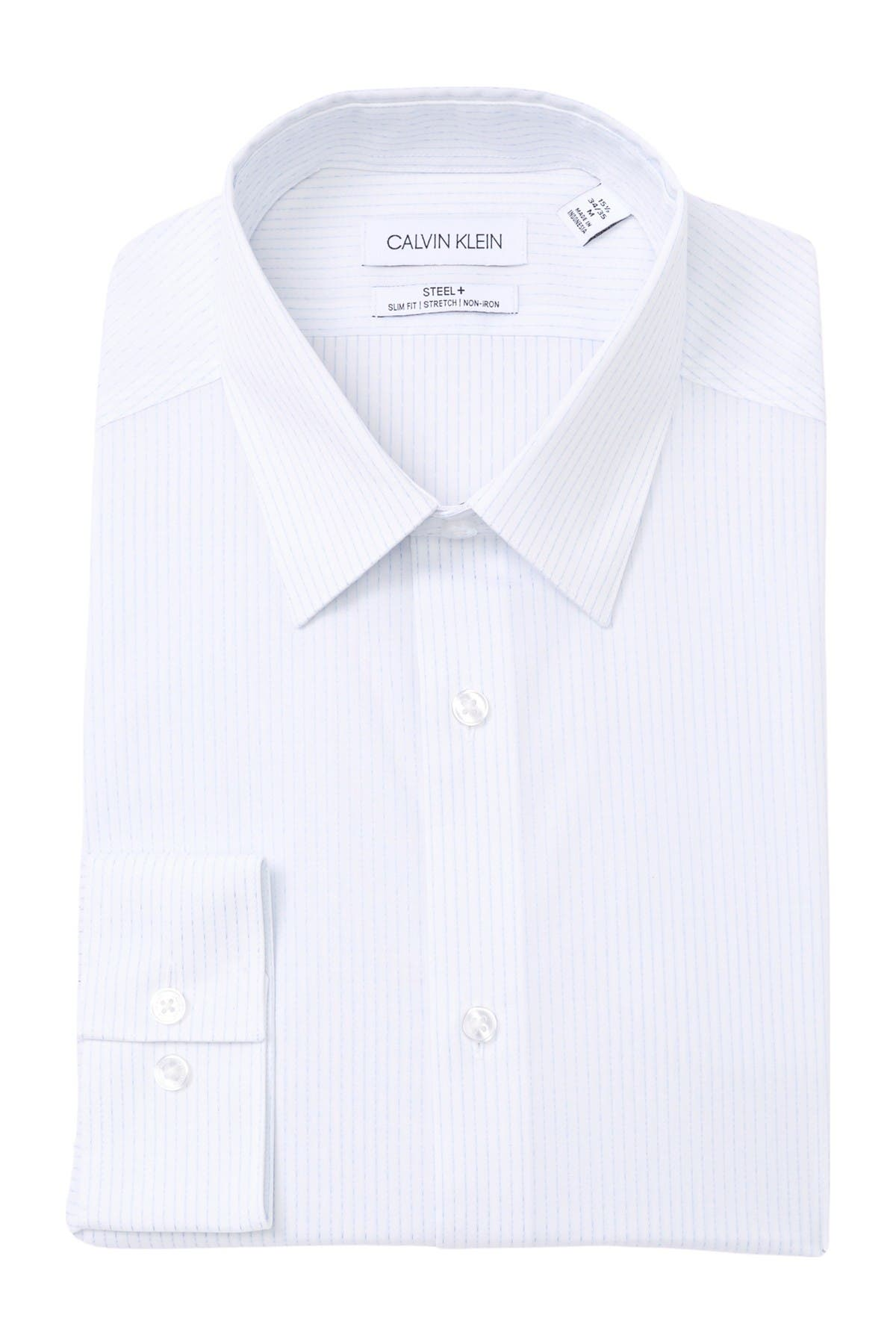 Image of Calvin Klein Steel+ Slim Fit Non-Iron Stretch Dress Shirt