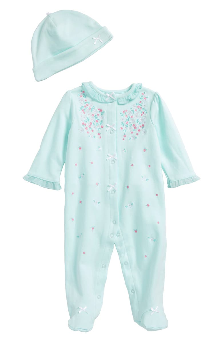 LITTLE ME Sweet Flower Footie & Hat Set, Main, color, 333