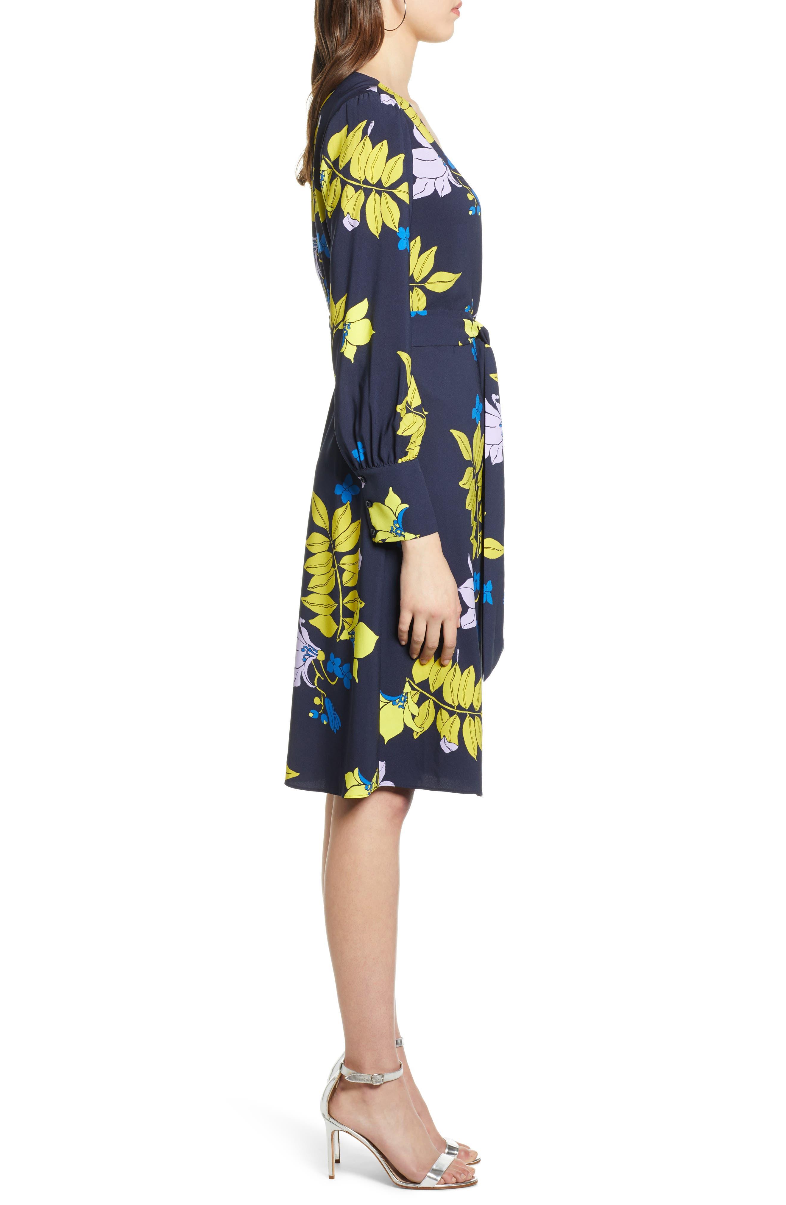 ,                             Wrap Dress,                             Alternate thumbnail 4, color,                             NAVY NATALIE FLORAL