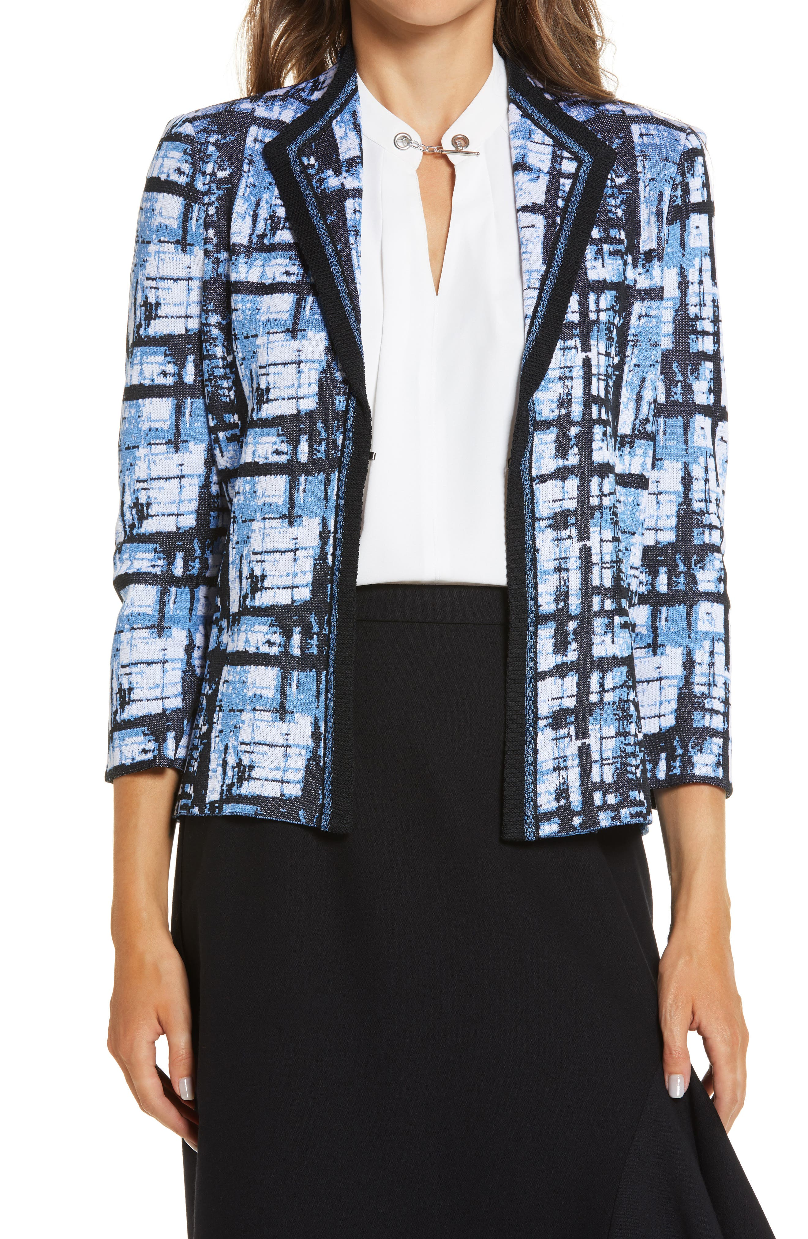 Ming Wang Abstract Plaid Sweater Jacket   Nordstrom