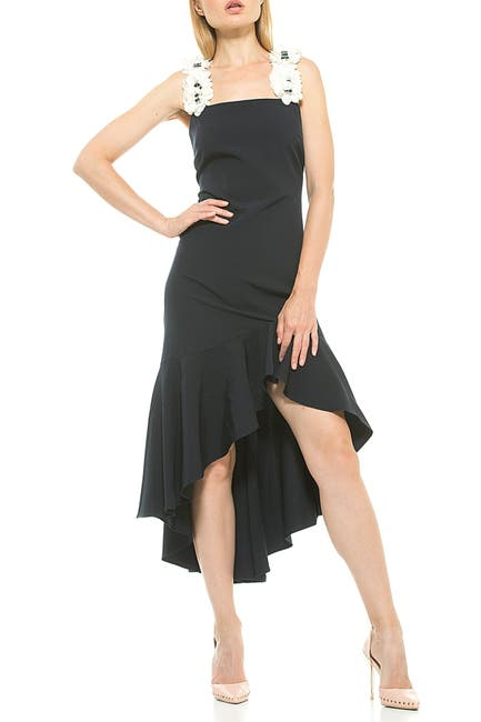 Image of Alexia Admor Veronia Embellished Flower Strap High/Low Dress