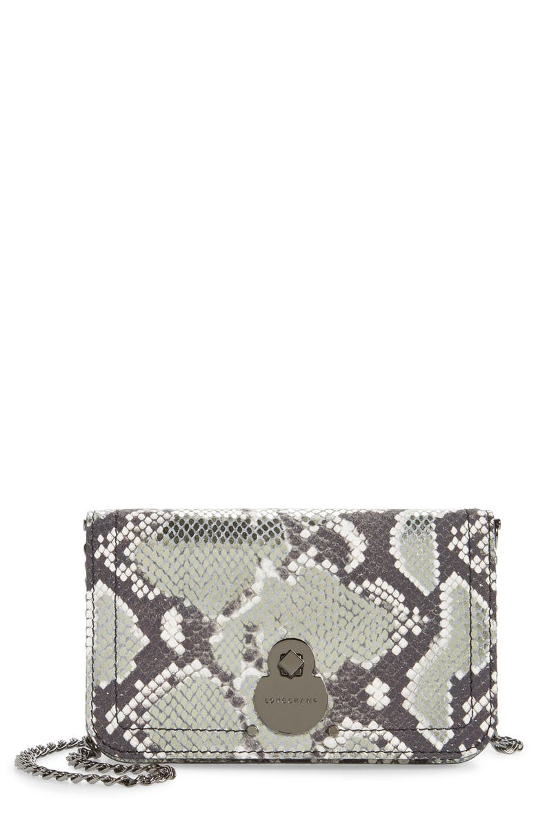 LONGCHAMP Cavalcade Snake Embossed Leather Wallet on a Chain, Main, color, PLATINUM