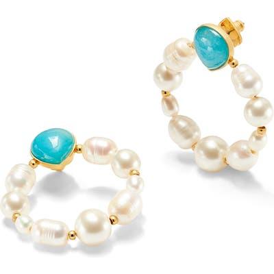 Kate Spade New York Freshwater Pearl & Jade Hoop Earrings
