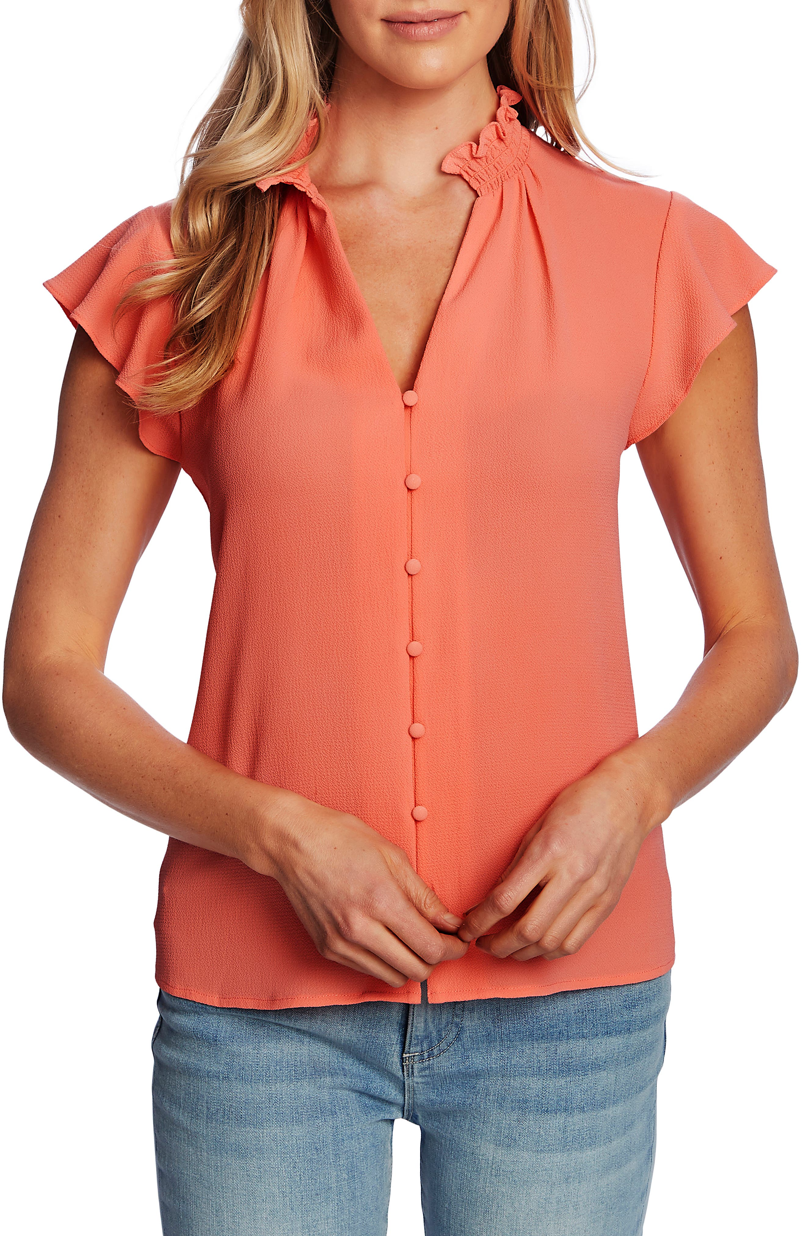 Image of CeCe by Cynthia Steffe V-Neck Button Front Blouse