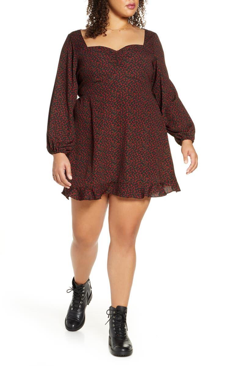 BP. Print Sweetheart Neck Long Sleeve Dress, Main, color, RED TANGO ROSE PRINT