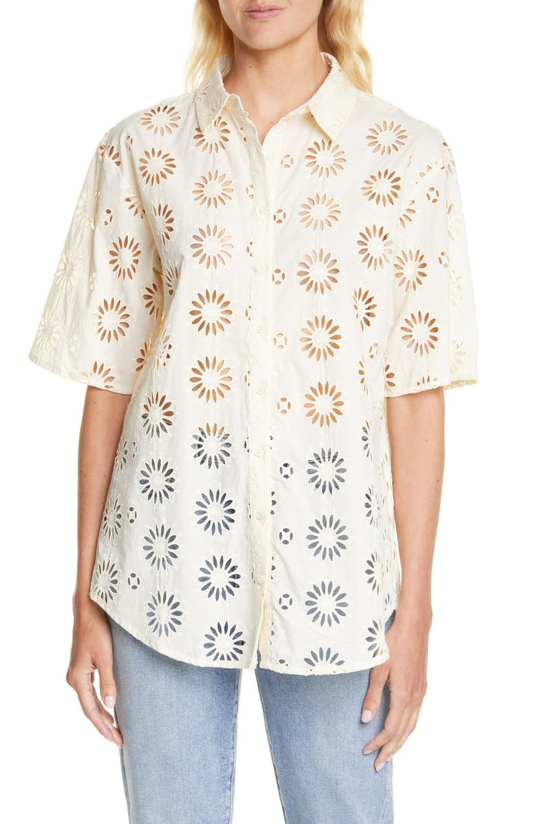BA&SH Buster Button Front Cotton Eyelet Shirt, Main, color, ECRU