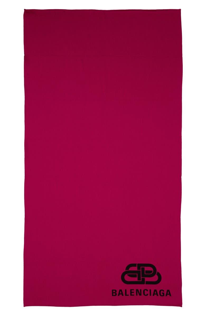 BALENCIAGA Logo Wool Blanket Scarf, Main, color, 650