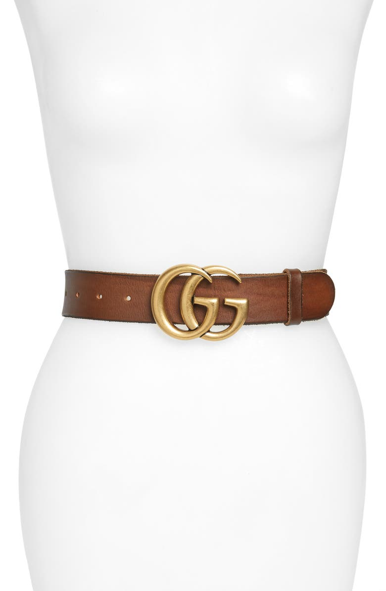 GUCCI GG Logo Buckle Leather Belt, Main, color, CUIR