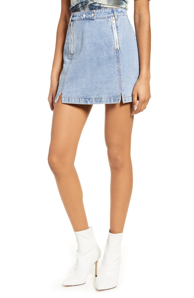 4SI3NNA Royce Denim Miniskirt, Main, color, LT DENIM