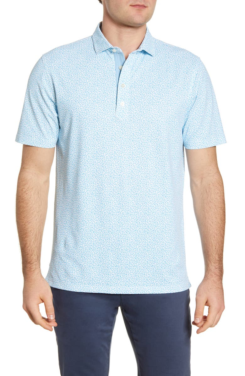 JOHNNIE-O Ponto Print Performance Polo, Main, color, NIAGARA