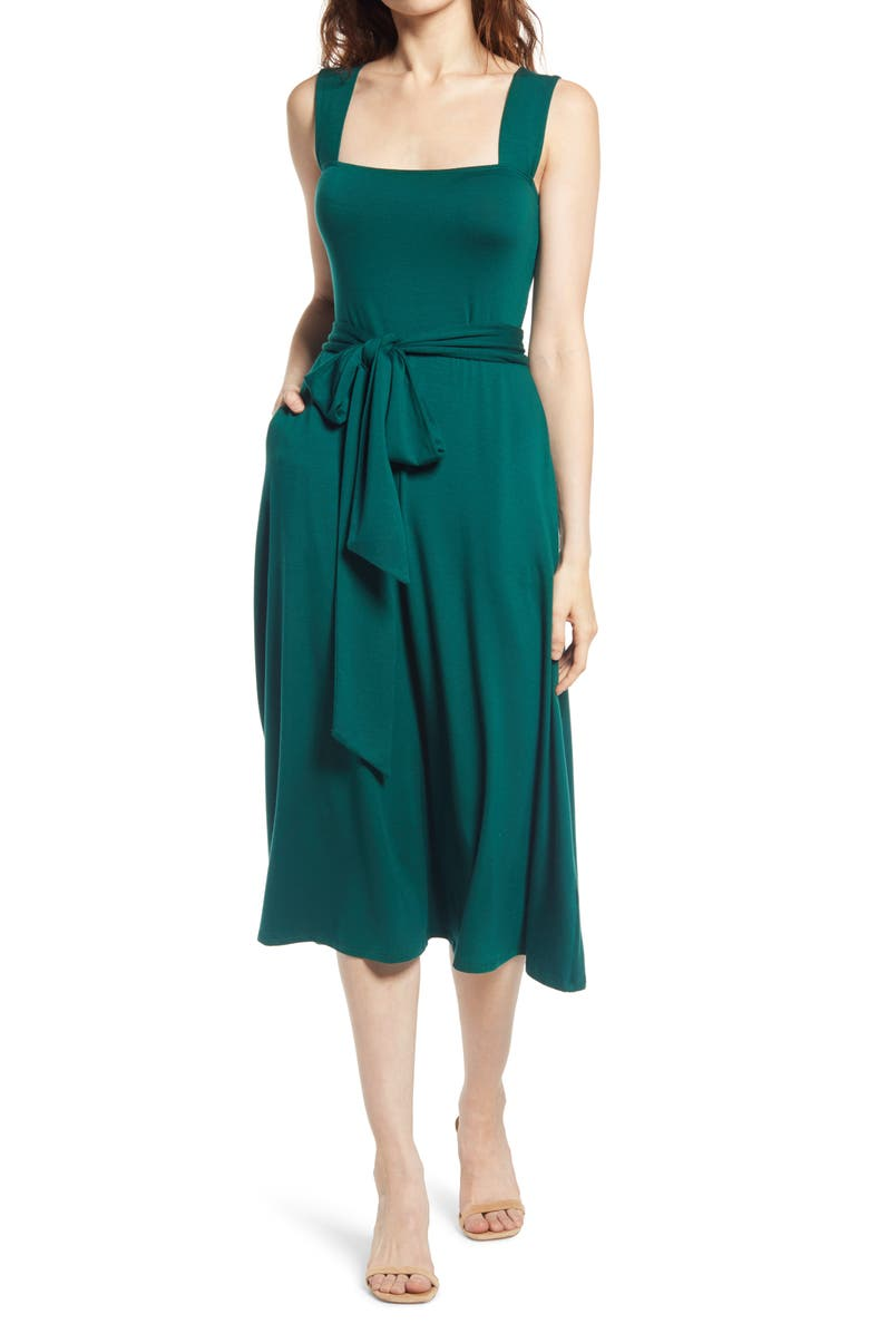 REFORMATION Helina Tie Back Midi Dress, Main, color, EMERALD